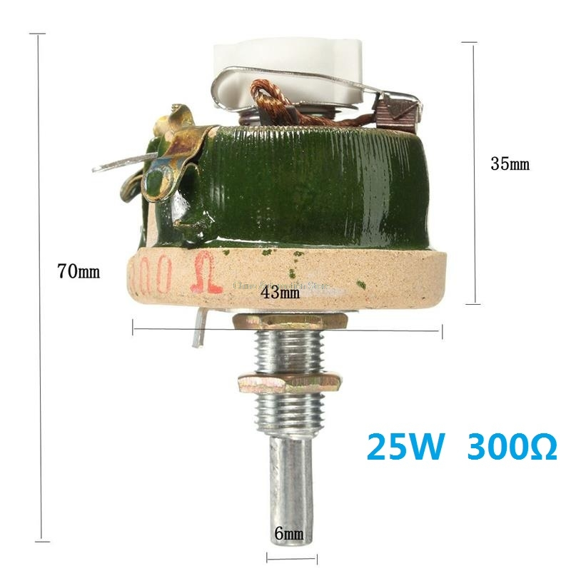 Natural cooling 25W 300 OHM High Power Wirewound Potentiometer Rheostat Variable Resistor High probability Potentiometers