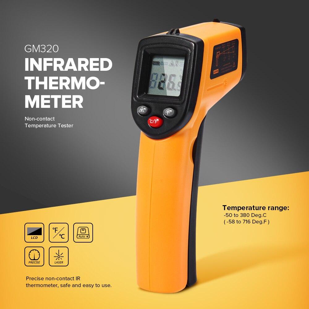 GM320 Termometro A Infrarossi Senza contatto di Temperatura Tester Display LCD IR Laser Pistola del Punto Diagnostico-strumento Termometro Digitale