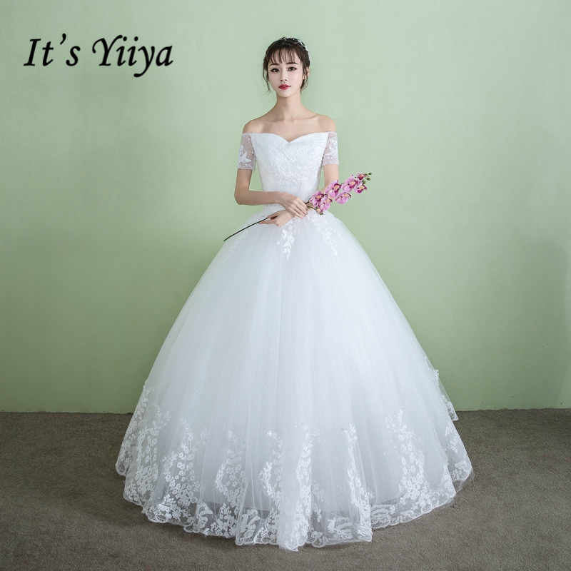 Plus Size Wedding Gown Patterns: It's YiiYa Off White Sleeveless Boat Neck Wedding Frock