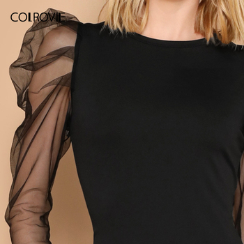 COLROVIE Black Mesh Gigot Long Sleeve Sheer Bodycon Elegant Dress Women 2019 Spring Slim Fit Mini Party Office Ladies Dresses 3