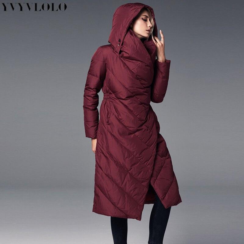 Épaissir Femme Manteaux Femmes Hiver Noir Capuche Manteau Pardessus Parka 2018 Long Nouveau Veste rouge À Chaud Yvyvlolo W7OHwn4x7