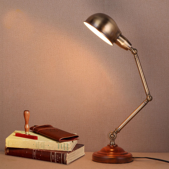 Vintage Loft Retro Industrial Desk Task Lamp Table Light Brass Articulating  Folding Rod Wooden Base