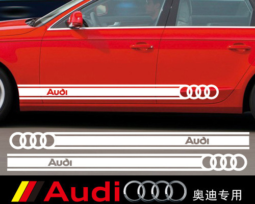 ETIE Car-styling Motorcycle Accessories Audi Logo Car Stripes Stickers 3M Wrap Vinyl Self Adhesive Side Skirt Stickers Charms
