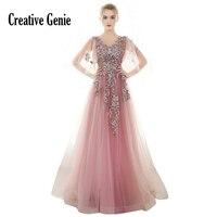 Evening Dress Long 2018 New Embroidery Flower Chiffon Deep V Collar Candy Pink Ball Dress Half Sleeve Evening Gowns For Women