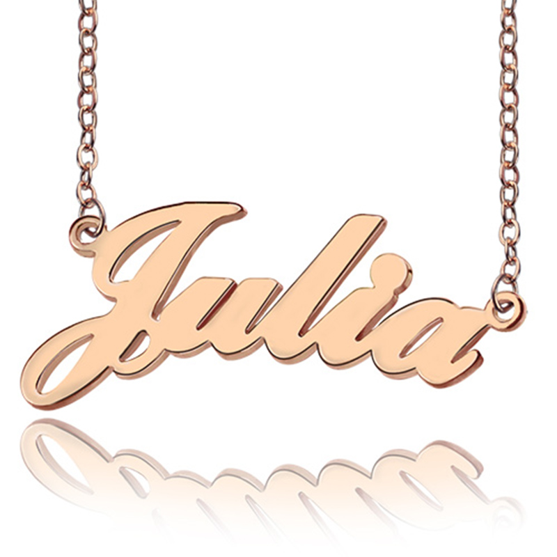 Women's Custom Nameplate Pendant Necklace Customize Rose Gold JULIA Style Name Necklaces Minimalist Jewelry Collier Femme BFF