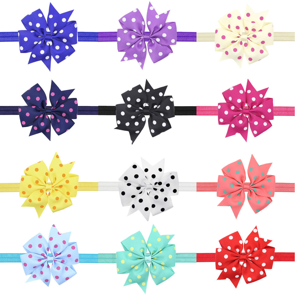 Baby Kids Girls Bowknot Hairband Elastic Headband dots elastic band for Baby Headwear hair accessories 3pcs lot lovely printed floral fabric bow headband striped dots knot elastic nylon hair band for girl children headwear