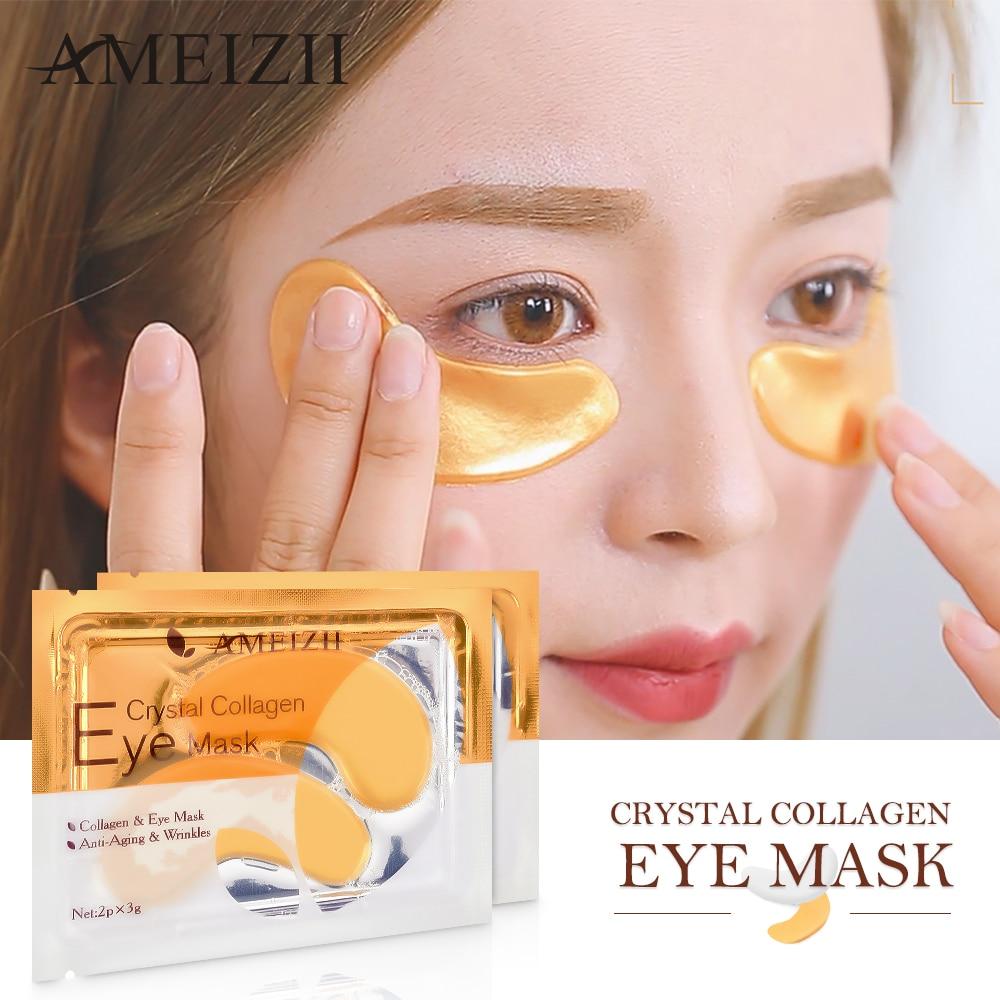 AMEIZII 10Pcs=5Pair 24K Gold Crystal Collagen Eye Masks Cover Sleeping Dark Circles Remove Face Skin Anti-Aging Moisturizing