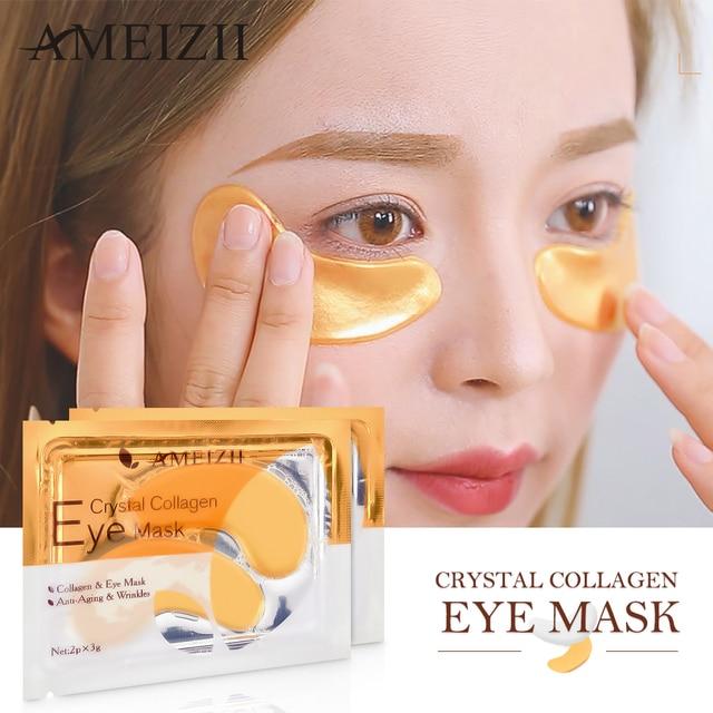 AMEIZII 10Pcs=5Pair 24K Gold Crystal Collagen Eye Masks Eye Cover Sleeping Dark Circles Remove Face Skin Anti-Aging Moisturizing