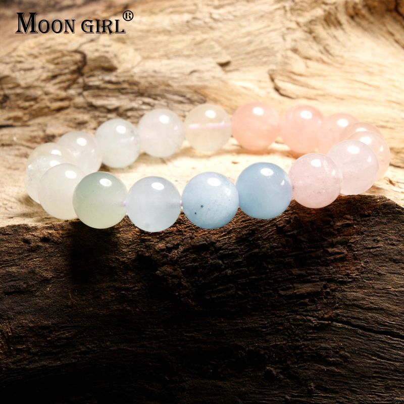 MOON GIRL 100% Natural Morganite Stone Fashion Charms Bracelet Elastic Chic Best Gift Bracelets for Women Drop Shipping Jewelry 6 8mm colorful morganite bracelets round natural stone bracelets morganite beads bracelet for women gift women jewelry