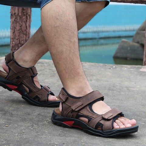 Brand Casual Men Genuine Leather Soft Sandals Comfortable Beach Shoes High-Quality Men Roman Summer Men Sandals large size 48 Multan