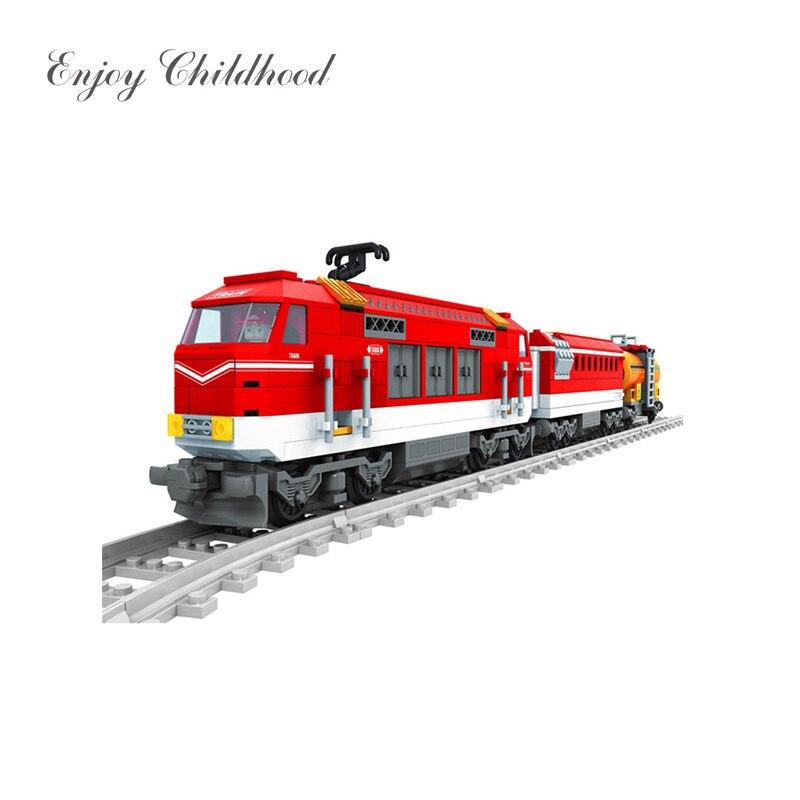 588 шт. город серии поезд с треками строительные блоки железная дорога перевозки детей Модель Кирпичи игрушки для детей Legoings