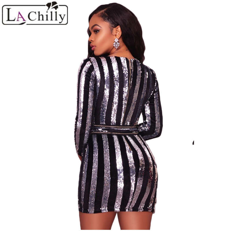 Aliexpress.com   Buy La Chilly Vestidos Mujer 2018 Bodycon Dresses  Glittering Silver Sequin Lace up Waist Mini Autumn Dress long Sleeve  LC220255 from ... d8270b606d70