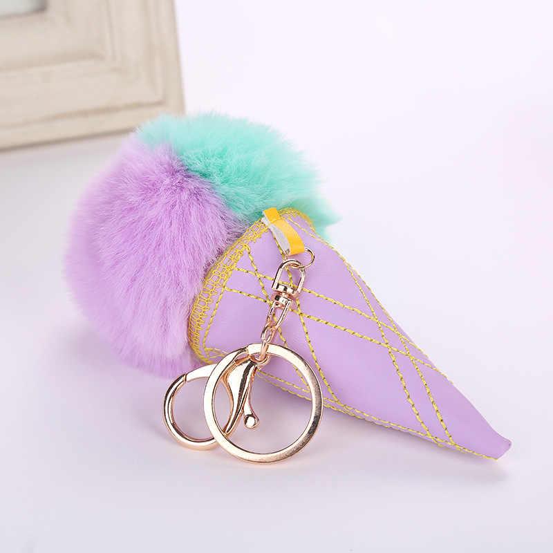 Bola de Sorvete Chaveiro PU Bola de Cabelo Colorido Pingente Ladies Bag Pingente De Gelo Creme Cone Pingente Sleutelhanger Pom Pom Mujer