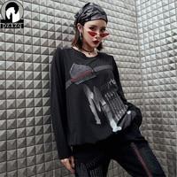 Knitted denim stitching material women Long Sleeve t shirt Harajuku Loose T shirt Female Spring Black Streetwear Tops Tee 2019
