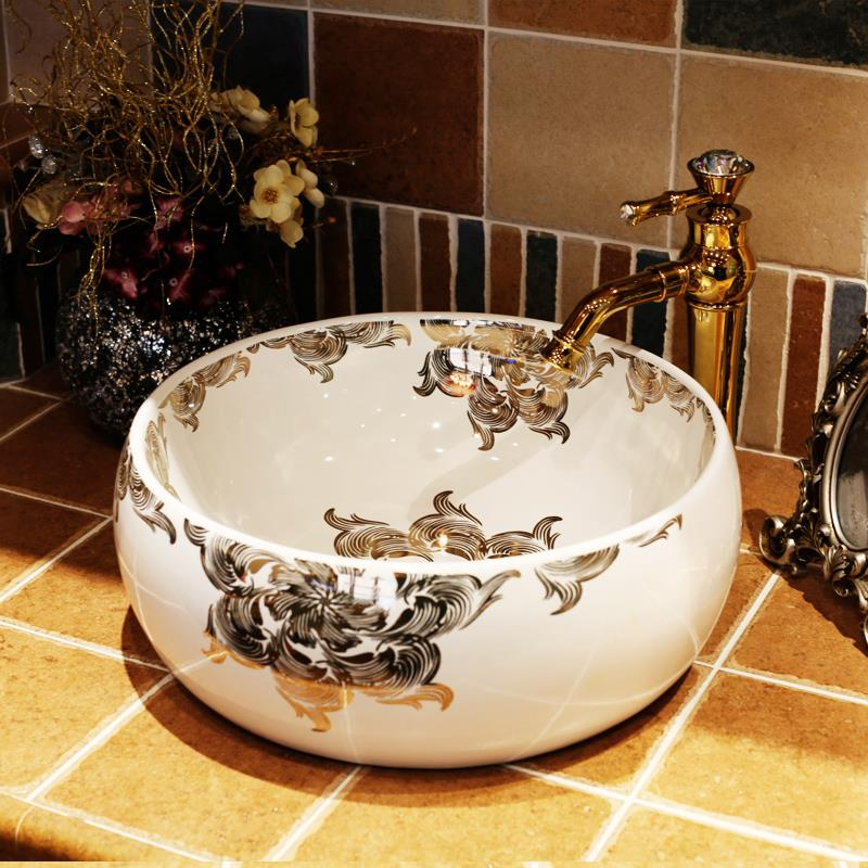 China Handmade Lavabo Ceramic Washbasin Europe Luxurious Artistic Bathroom  Sink Porcelain Hand Wash Basin(China Part 66
