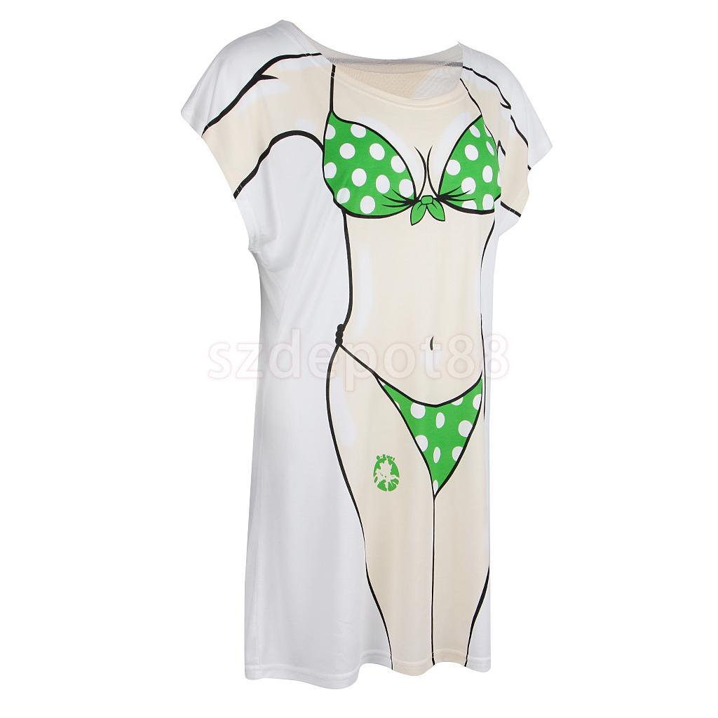 99d4344a5f Fun Women Muscle Man Cherry Dots Bikini Print Swimsuit Cover-up Long T-shirt