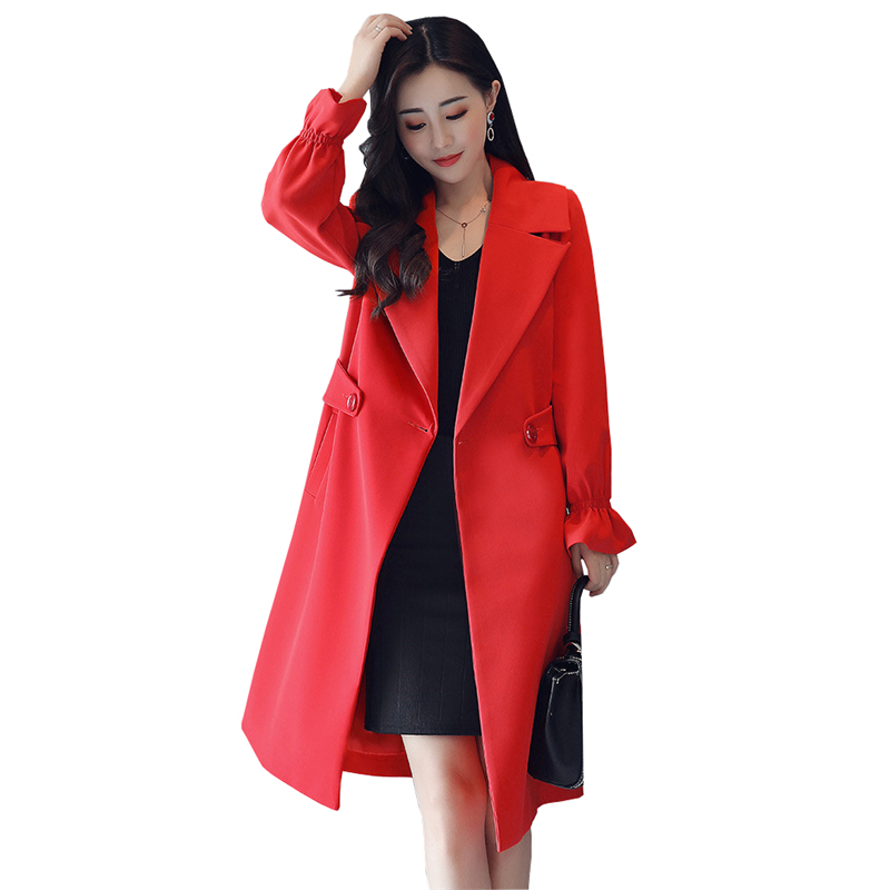 2018 Autumn Winter Women Elegant Long   Trench   Coat Female Fashion Office Turn-down Collar Plus Size 4XL Slim Tops Windbreaker Q95
