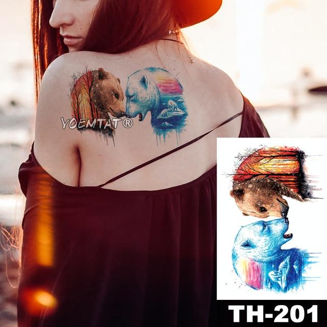 1 Sheet Animal Fake Tattoo Sticker Wolf Tiger Fox Cool Temporary Waterproof Body Art Tatoo Colored Draw For Women Men 5