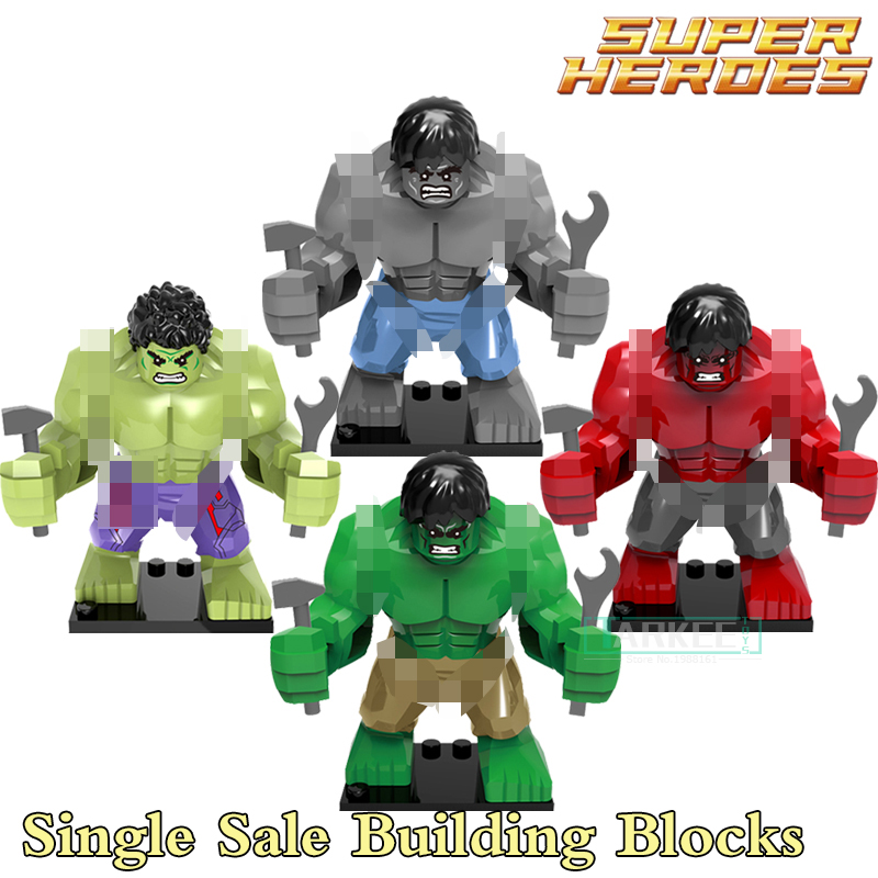 Single Sale Hulk Green Red Gray Building Blocks Super Heroes Avengers diy figures Bricks Action Figure DIY Toys For Kids Xmas bela 10241 super heroes avengers hulk lab smash set with taskmaster falcon hulk thor turret robot modok action figure toys