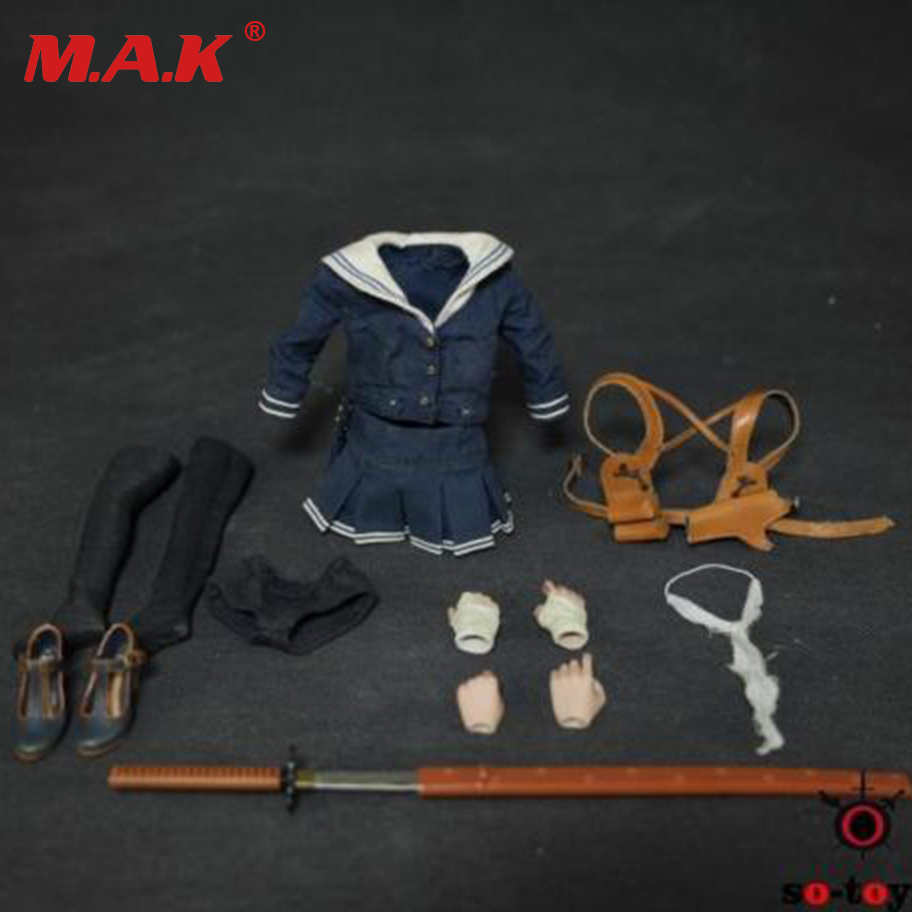 1/6 Scale Female Clothes + Shoes + Weapon Set D.E.B.S. Baby Doll SO-T02 For 12 Action Figure Accessories 1 6 scale female head shape for 12 action figure doll accessories doll head carved not include body clothes and other km15