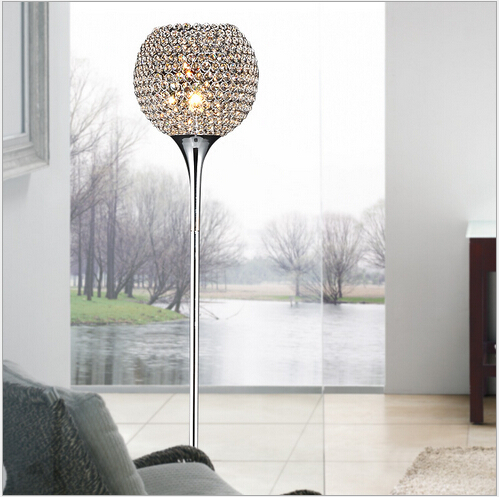 hot sale luxurious modern brief fashion K9 crystal led E27 floor lamp for living room bed room decor light 1523