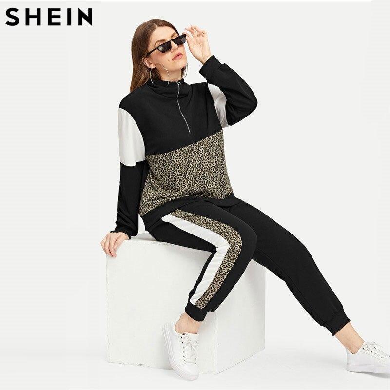 Шеин плюс размеры Athleisure Леопардовый принт футболка и брюки для девочек комплект для женщин половина планка Весна Спортивные повседневное