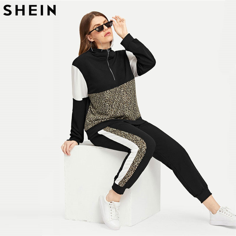 SHEIN Plus Size Athleisure Leopard Print TeeAndPants Set  Women Half Placket Spring Sporting Casual Two Piece Sets  Matching Set
