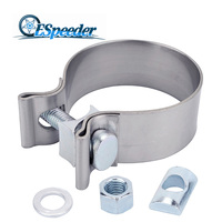 ESPEEDER 2.25 Inch High Strength Butt Joint Stainless Steel Universal Exhaust Clamp Band Kit 2.25'' Auto Turbo Pipe Clips