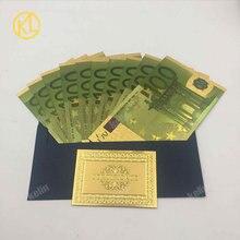 10 шт./лот цветные европейские банкноты Реплика 100 евро Позолоченные банкноты Золотая фольга поддельные пластиковые деньги для сбора и подарка