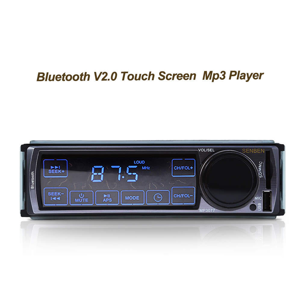 2017 Hot Sale Black Metal 3077 12V Car Audio Stereo FM Bluetooth V2.0 Touch Screen Support USB SD Mp3 Player AUX Mic Hands-free 7 hd 2din car stereo bluetooth mp5 player gps navigation support tf usb aux fm radio rearview camera fm radio usb tf aux