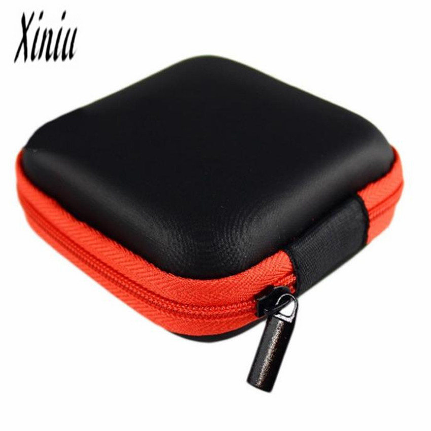 Round Portable Mini Hard Storage Case Bag Box for Earphone Headphone SD TF Cards black Coin Purse Mini Wallet Hot Gift