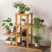 Multi layers Solid Wood Simple Flowerpot Rack In Living Room
