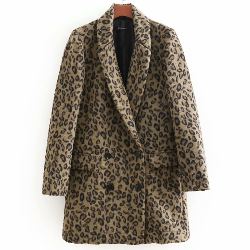 Liva Leopard Printed Winter Coat Women manteau femme hiver Double Breasted Wool Coat Patchwork manteau femme