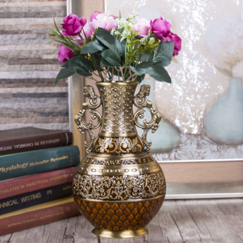 Best Selling Products Home Decor Bedroom Cheap Ceramic: Antique Big Metal Flower Vase For Home Decor