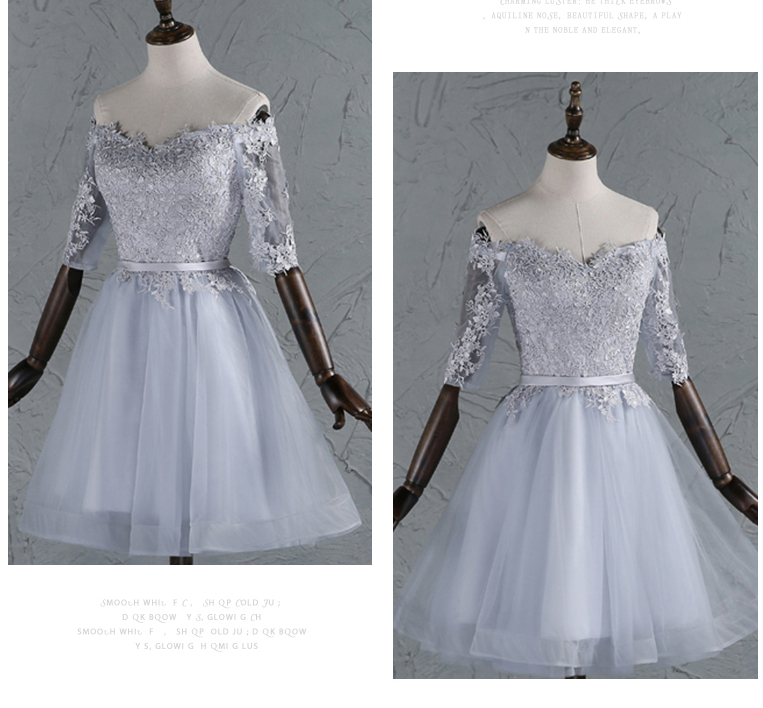 bridemaids special occasion off shoulder dresses elegant formal lace up back short bridesmaid dress with sleeves ball gown W3657