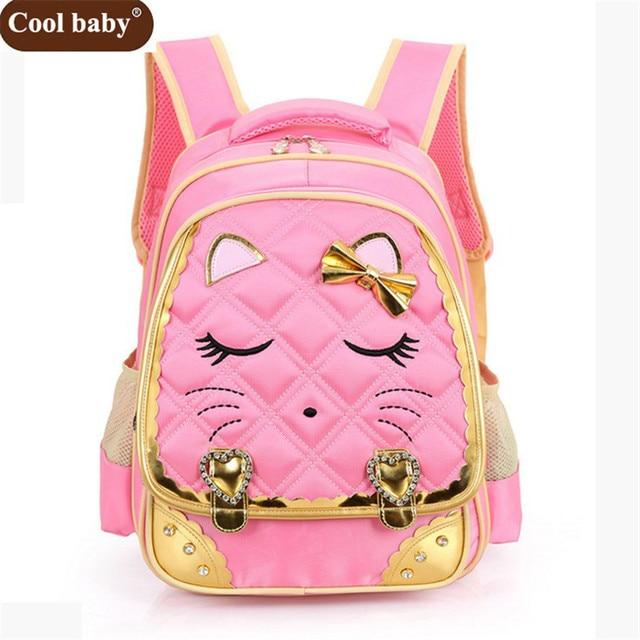 Cool Baby 2017 Girls School Bags Children Nylon Backpack Primary Book Bag Girl Schoolbook Pack Free