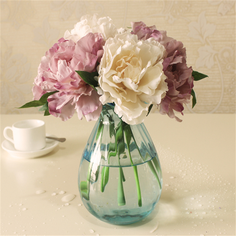 Cheap Tiffany Blue Artificial Fake Peony Silk Flowers Bridal Bouquet Flower Arrangement Home