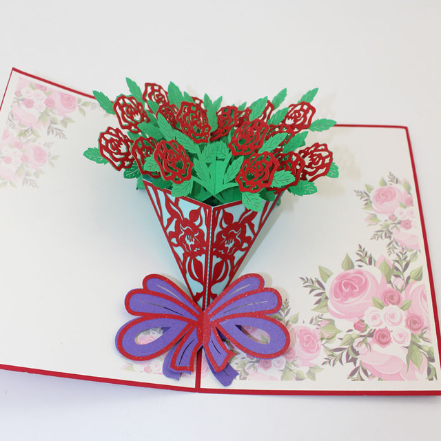 10 Pieces LotNew Arrival Happy Birthday Card 3D Pop Up Handmade Greeting
