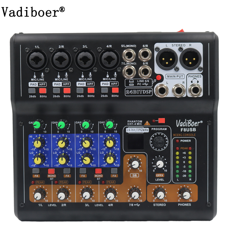 Vadiboer F8 Professional 6 Channels Mixer Console With Bluetooth Effect 48V Phantom Power Supply Mini Stage Audio Console Equipm лежак ferplast siesta deluxe 4 розовая для кошек 61 5 45 21 5