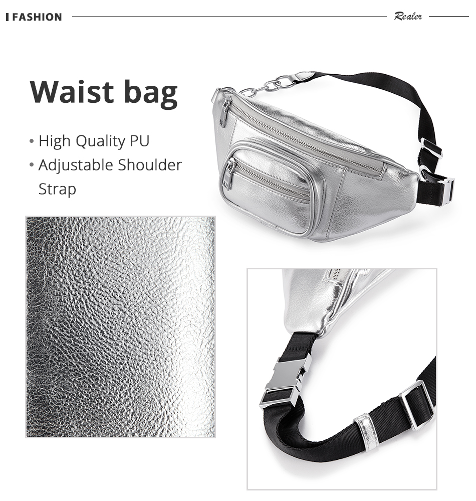 70098487f7a REALER waist bag women PU leather designer fashion waist packs solid female  high quality funny cross-body bags belt for ladies