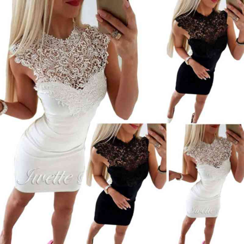 Mulheres Verão Sexy Lace Floral Sem Mangas Bandage Bodycon Magro Mini Vestido Curto Cocktail Party <font><b>Dress</b></font> <font><b>Clubwear</b></font> image