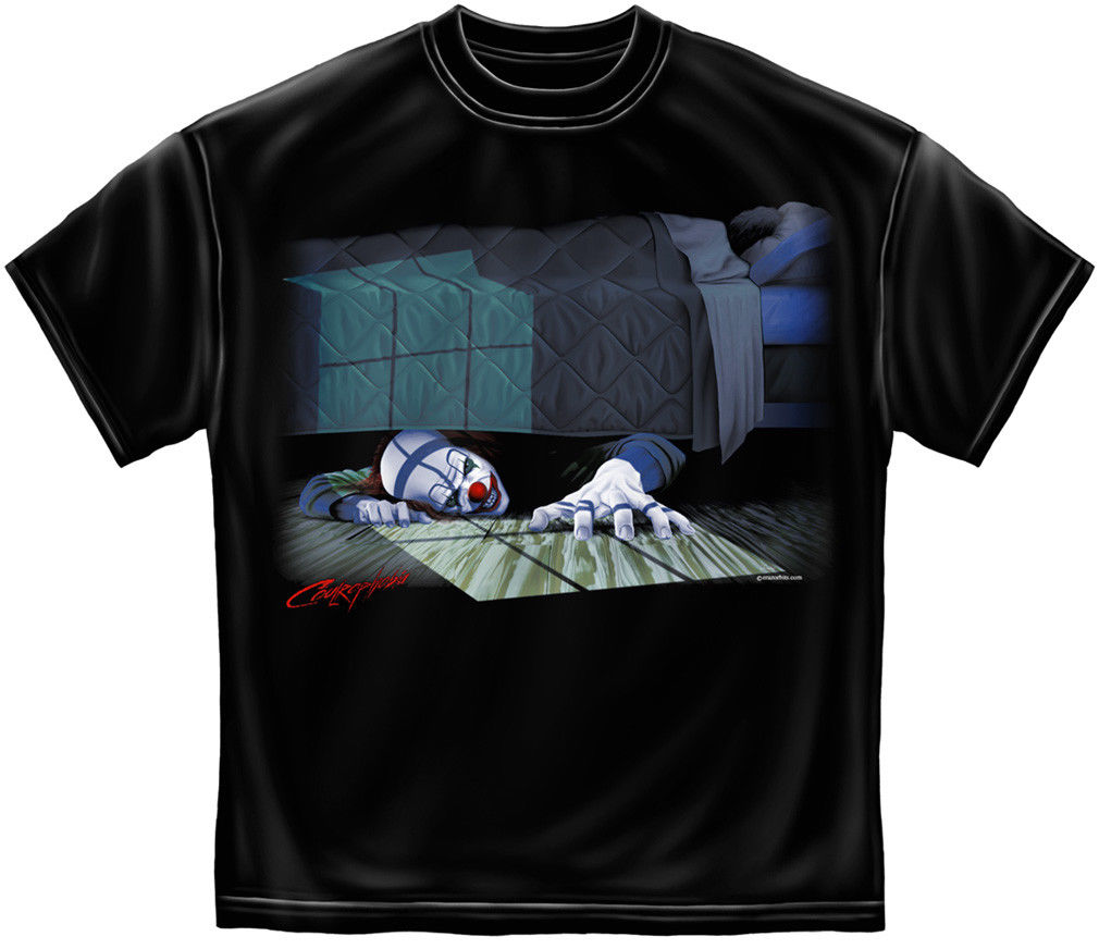 Scary Evil Clown T Shirt Halloween Horror Hiding Under Bed Nightmare