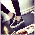 NOVO 2016 Mulheres Sapatos Mocassins Apartamentos sapatos Baixos Sapatos de Lona Mulher Casual Slip on Platform alunos Sapatas Das Senhoras