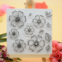 CS1291 Scrapbook DIY Photo Album Cards Transparent Acrylic Silicone Rubber Clear Stamps Sheet  10x10cm Flower