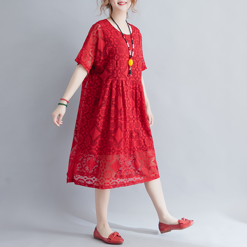 Women dress Slim Lace Loose Fat Comfortable Cloth In 56 Dresses Black Wine Red 9315
