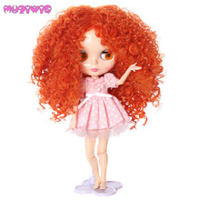 MUZIWIG Heat Resistant Synthetic Orange Long Afro Wavy Doll Wig hair for Bly the Dolls Accessories
