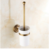 High Quality European Style Antique Brass Bathroom Accessories Toilet Brush Holders With Cup Set Wall Mounted