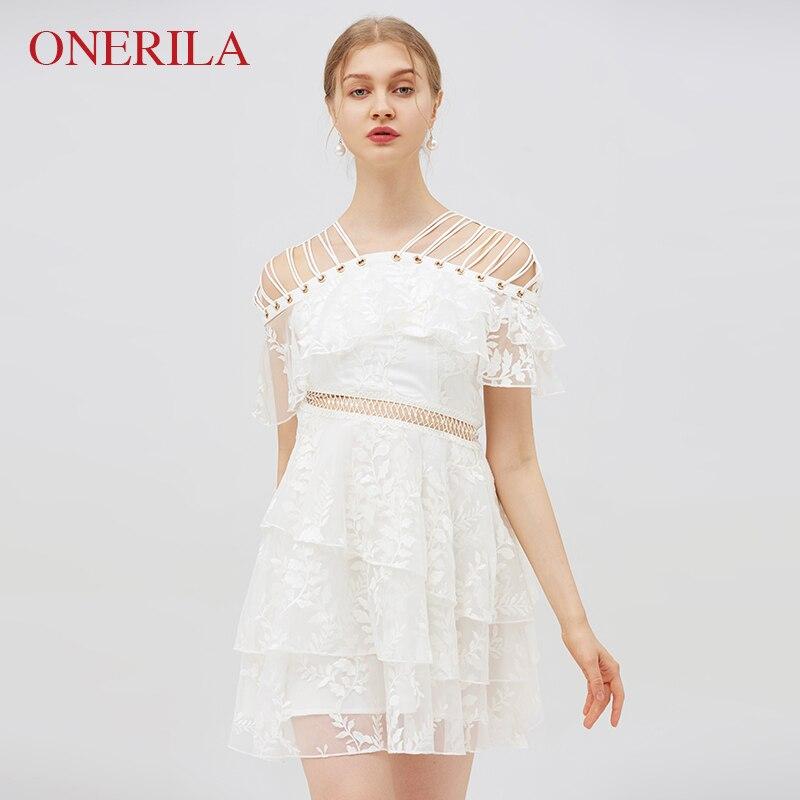 ONERILA сексуальный белый вышивает кружевном платье элегантный Для женщин выдалбливают короткий рукав линия Империя бинты Платья для вечерин