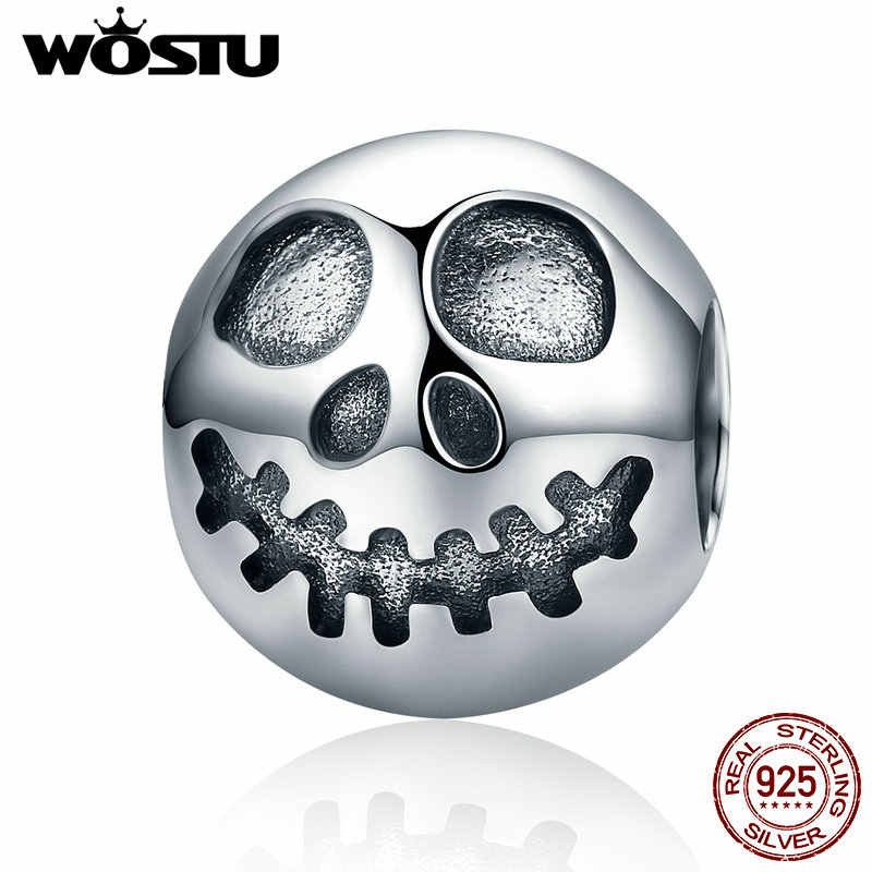 WOSTU Novo 925 Sterling Silver Ghost Rosto Beads Fit Original CQC181 WST Charm Bracelet Authentic Jóias DIY Presente do Dia Das Bruxas