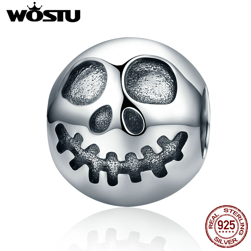 WOSTU New 925 Sterling Silver Ghost Face Beads Fit Original WST Charm Bracelet Authentic DIY Jewelry Halloween Gift CQC181 wostu authentic 100% 925 sterling silver cute owl love story charms fit original wst bracelets diy jewelry gift cqc425